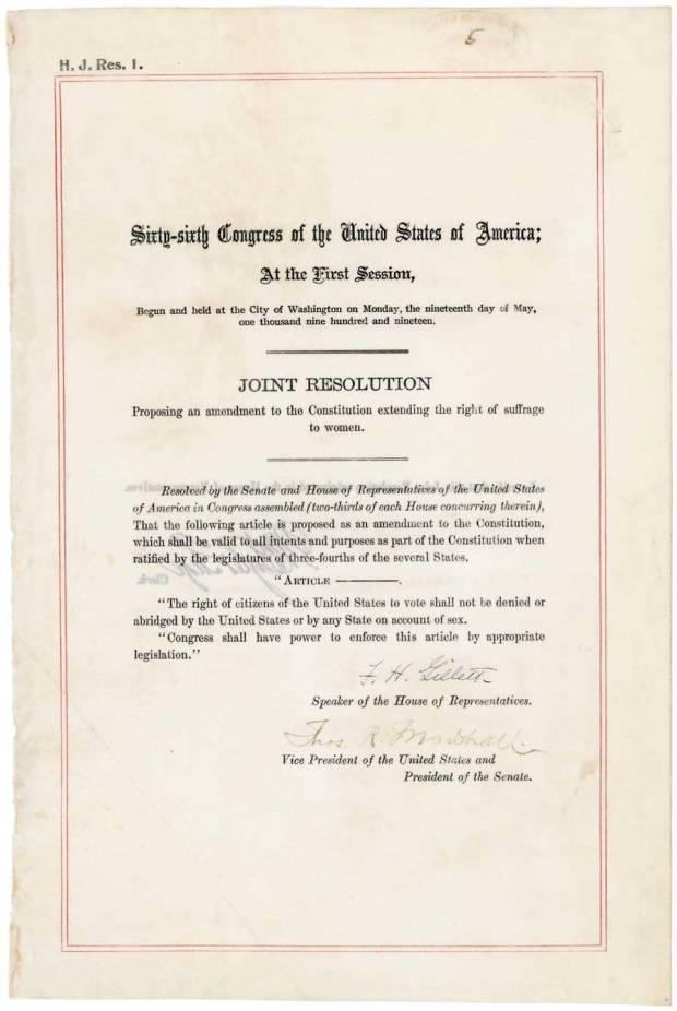 Photo of House Joint Resolution 1 proposing the 19th Amendment Women's right to vote